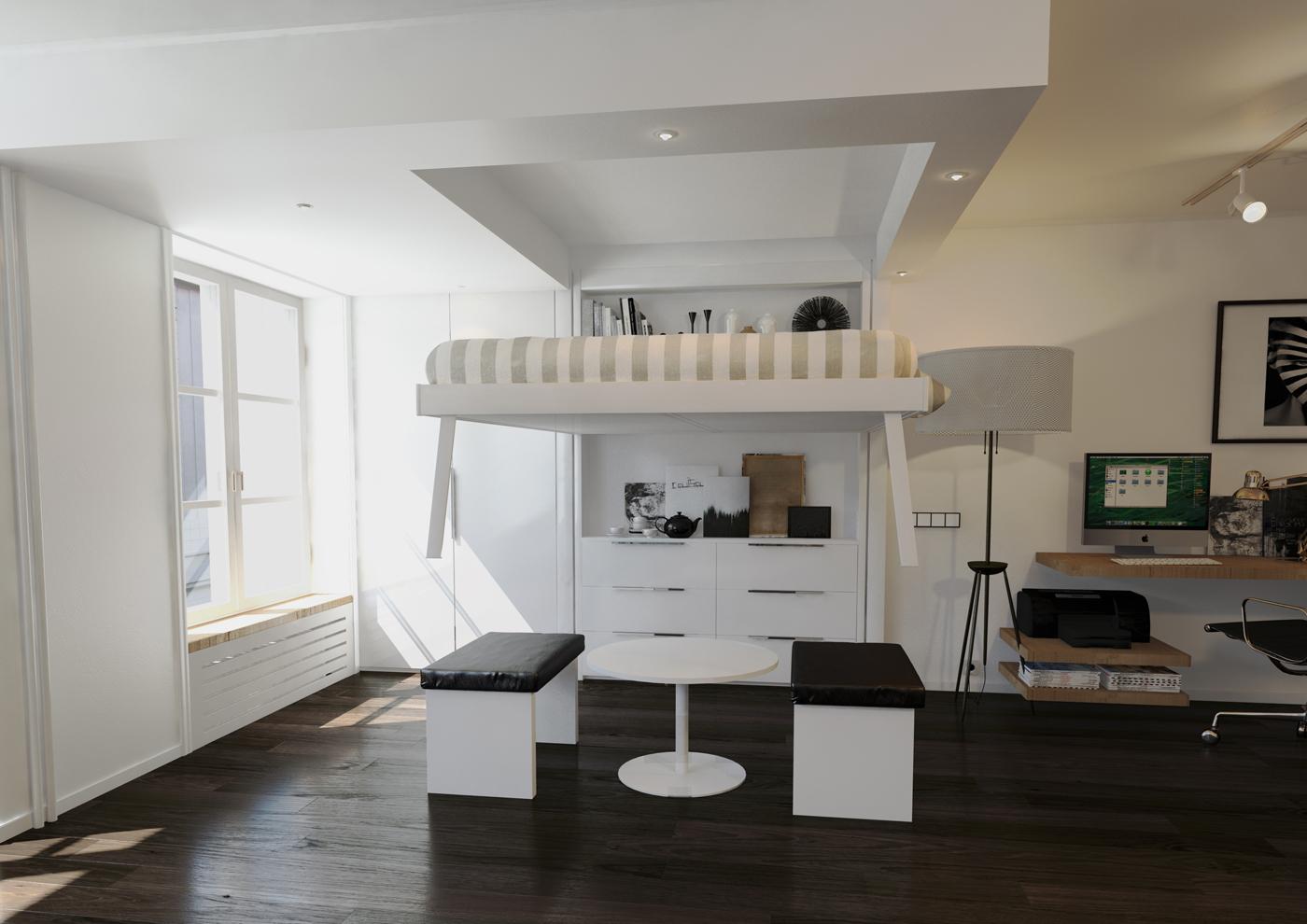 postelja pod stropom. Black Bedroom Furniture Sets. Home Design Ideas