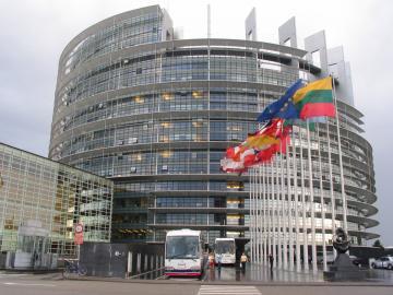 Stavba evropskega parlamenta v Strasbourgu se oskrbuje z elektriko, pridobljeno iz obnovljivih virov. - Foto: Helena Kocmur/dokumentacija Dela