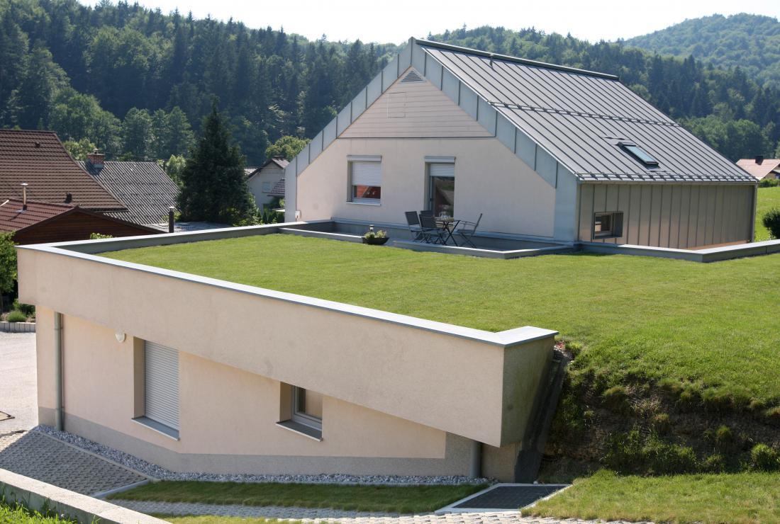 Ravne strehe imajo minimalni naklon, največkrat okoli dvoodstotnega. Pri zelenih strehah je pomemben zaradi tega, da voda ne zastaja na dnu rastnega substrata. Foto: Igor Zaplatil/dokumentacija Dela