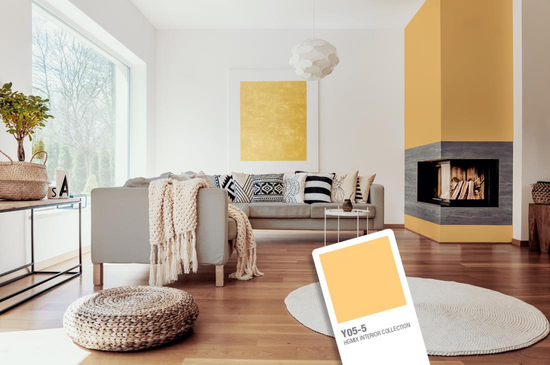 Z rumenim odtenkom lahko poudarite nekatere površine v prostoru, na primer kamin.