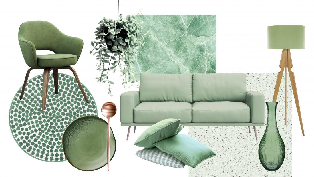 V izbranem zelenem odtenku so lahko manjši dodatki kot tudi večji kosi pohištva, kot je zofa. Foto arhiv Jub