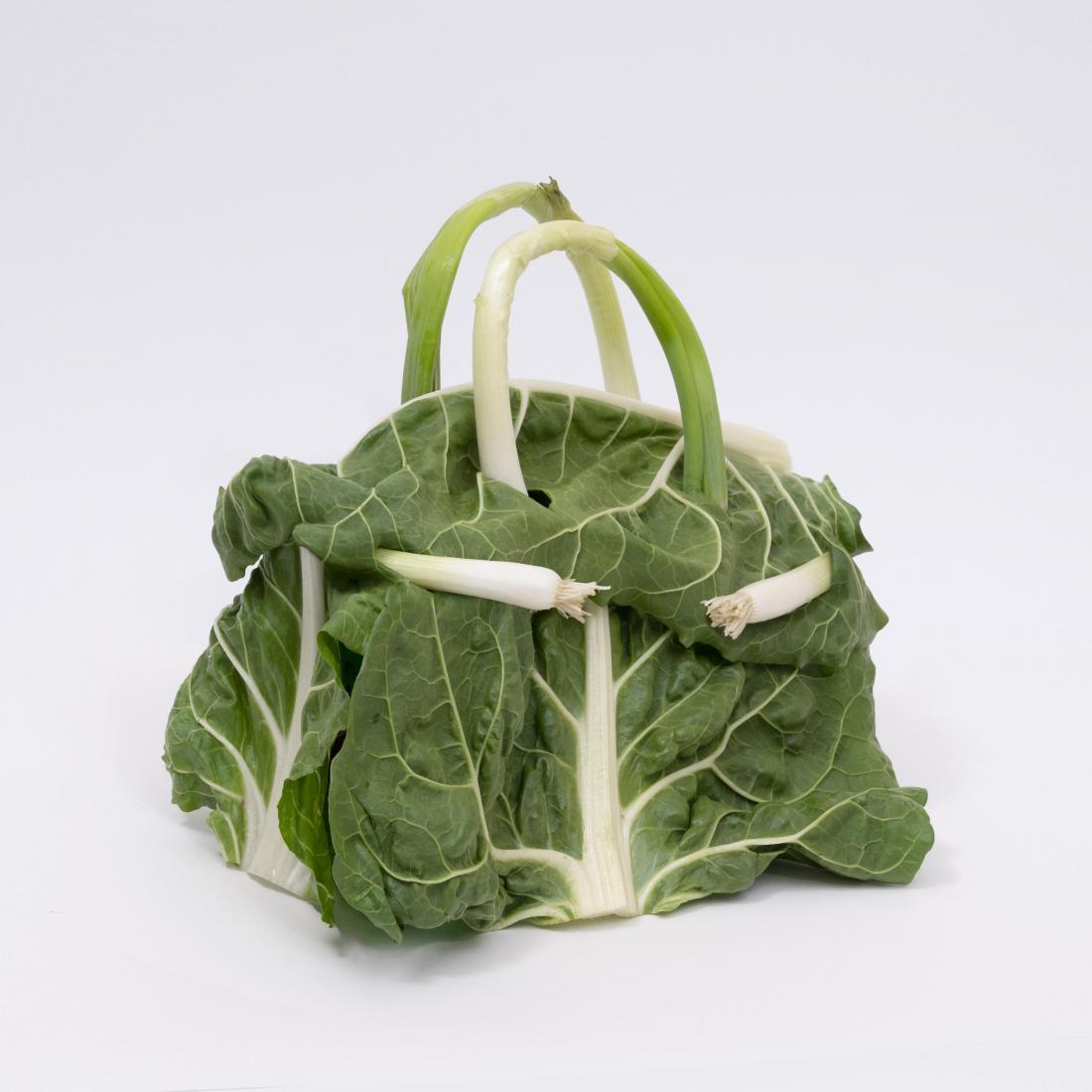 Umetnik Ben Denzer je slavno birkinko izdelal iz špargljev, zelja in bučk.