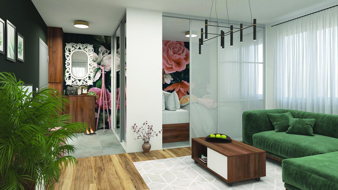Garsonjera: prostor za spalnico je pregrajen z vgradno omaro, ki v predsobi omogoča shranjevanje, v spalnici pa predstavlja steno, ob katero je postavljena postelja. FOTO: arhiv Akron