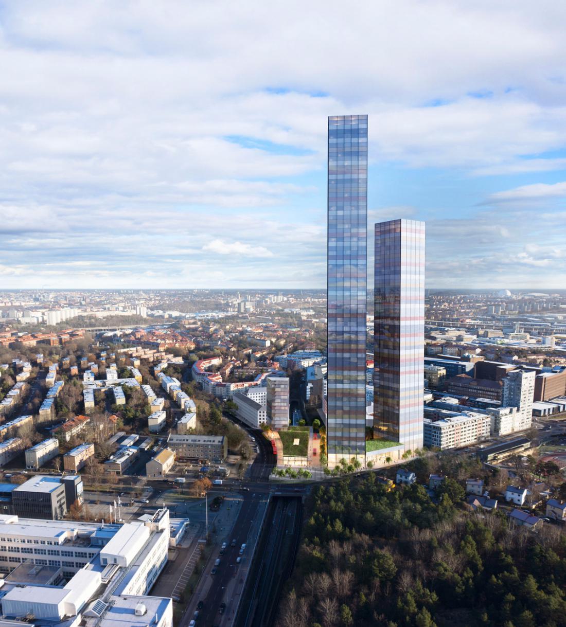 Načrtovani projekt Tellus Towers, Stockholm. FOTO: www.ssmliving.se