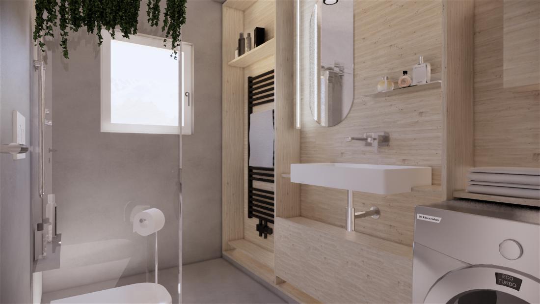 Ubrana majhna kopalnica. FOTO: arhitekturni biro Celovito