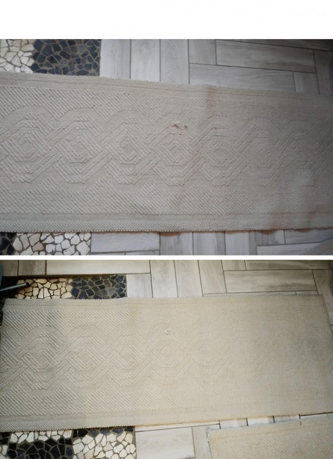 Zgoraj je preproga prej in na sliki spodaj po uporabi čistila. Najboljši učinek čistila je bil prijeten vonj.