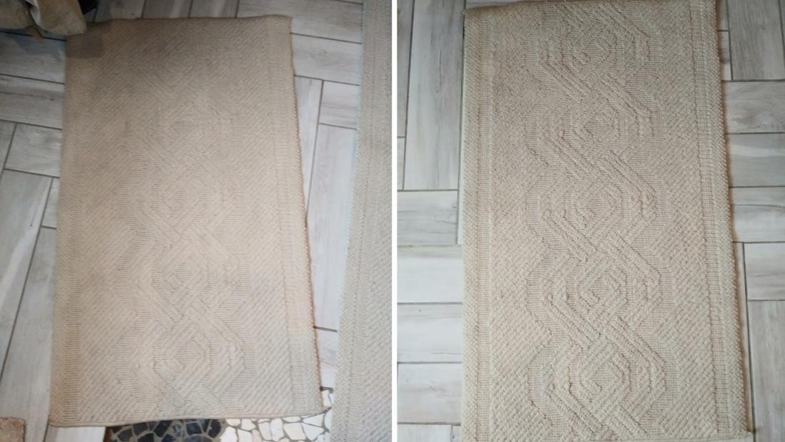 Na levi fotografiji je preproga pred uporabo čistila. Na desni je preproga po uporabi čistila. Razlika ni preveč očitna, a neprijeten vonj je bil odpravljen.
