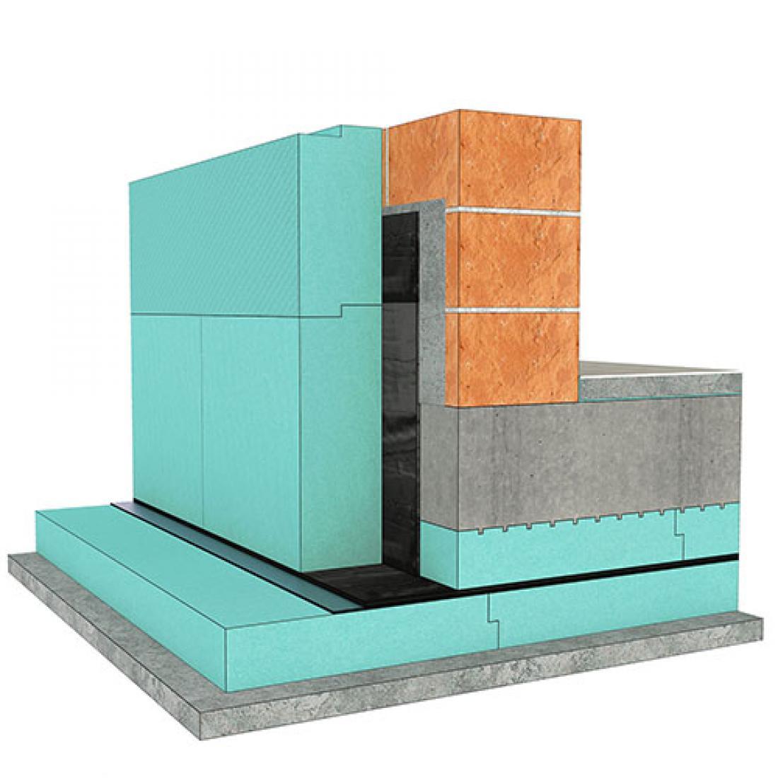 3D model temeljenja stavbe na temeljni plošči